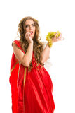 Ancient greece woman hands a bunch of grapes Royalty Free Stock Image