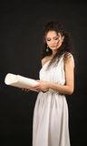 Ancient greece woman holding a scroll Stock Photography