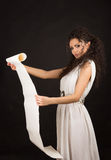 Ancient greece woman holding a scroll Royalty Free Stock Photo