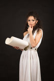 Ancient greece woman holding a scroll Royalty Free Stock Photos