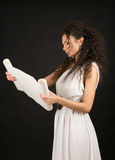 Ancient greece woman holding a scroll Royalty Free Stock Image