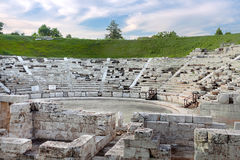Ancient Greek amphitheater in Larissa. Stock Photo