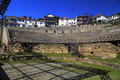 The ancient Greek amphitheater in Ohrid Stock Photo