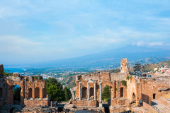 Ancient Greek amphitheater in Taormina city Stock Photo