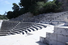 Ancient Greek amphitheater,Theater of Rhodes Island, summer. Ancient Greek amphitheater,Theater of Rhodes Island summertime stock images