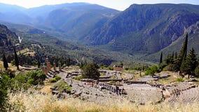 Ancient Greek Amphitheatre, Sanctuary of Apollo, Delphi, Greece. The Ancient Greek theatre or amphitheatre and the Temple of Apollo, Sanctuary of Apollo, Delphi Royalty Free Stock Image