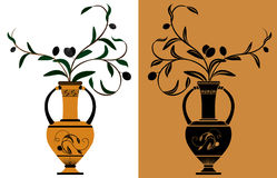 Ancient Greek amphora. With olive branches stencil and color variants Stock Photos