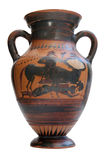 Ancient greek amphora isolated. On white Stock Photography