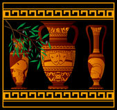 Ancient greek amphora and jugs. Vector illustration Stock Photo