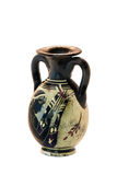 Ancient Greek amphora. On white background painted with sambuca player and olive branch stock photos