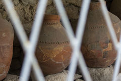 Ancient greek amphoras in a museum of Chersonese Taurian Stock Photos