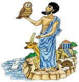 Ancient Greek with sacred animals. Vector illustration of animals -mascots in Ancient Greece Stock Photo