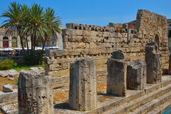 Ancient greek apollo temple ruins in Siracusa city Italy Royalty Free Stock Image