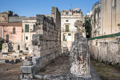 Ancient greek apollo temple ruins, tourist attraction in Siracus Royalty Free Stock Photography