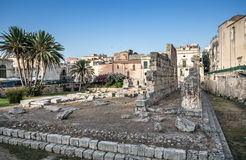 Ancient greek apollo temple ruins, tourist attraction in Siracus Royalty Free Stock Photos
