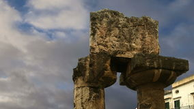 Ancient Greek APOLLO TEMPLE. Syracuse (Siracusa, Sarausa)-- historic city in , Sicily, Italy stock video