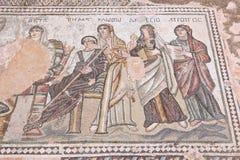 Ancient Greek art. Cyprus - Kato Paphos archeological park ancient Greek mosaic. UNESCO World Heritage Site stock photo