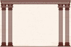 Ancient Greek background. Ancient Greek background with four columns and a national ornament. Old beige papyrus with the aging effect Stock Photo