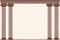 Ancient Greek background. Ancient Greek background with four columns and a national ornament. Old beige papyrus with the aging effect Stock Images