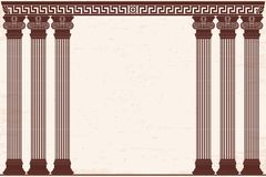 Ancient Greek background. Ancient Greek background with six columns and a national ornament. Old beige papyrus with the aging effect Royalty Free Stock Photo