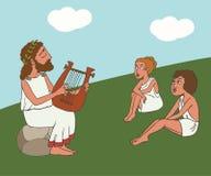 Cartoon ancient greek bard performance. Ancient greek bard performance, funny historic cartoon of literature origins vector illustration