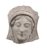 Ancient Greek bas-relief face isolated Royalty Free Stock Photo