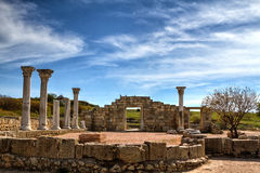 Ancient Greek basilica and marble columns. Stock Image