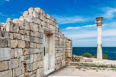 Ancient Greek basilica and marble columns in Chersonesus Taurica Royalty Free Stock Photo