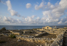 Ancient Greek basilica and marble columns in Chersonesus Taurica. Stock Photos