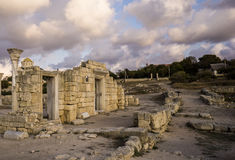 Ancient Greek basilica and marble columns in Chersonesus Taurica. Stock Image