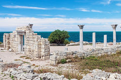 Ancient Greek basilica and marble columns in Chersonesus Taurica Stock Photos