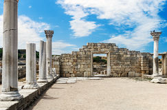 Ancient Greek basilica and marble columns in Chersonesus Taurica Stock Photo