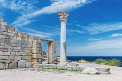 Ancient Greek basilica and marble columns in Chersonesus Taurica Royalty Free Stock Photography