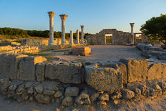 Ancient Greek basilica and marble columns in Chersonesus Taurica. Royalty Free Stock Photos