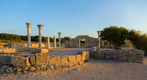 Ancient Greek basilica and marble columns in Chersonesus Taurica. Stock Photography