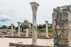 Ancient Greek basilica and marble columns in Chersonesus Taurica Royalty Free Stock Images