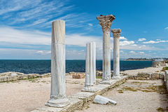 Ancient Greek basilica and marble columns in Chersonesus Taurica Royalty Free Stock Image