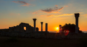 Ancient Greek basilica and marble columns in Chersonesus Taurica Stock Images