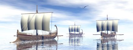 Ancient greek boats - 3D render Royalty Free Stock Photos