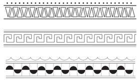 Ancient greek border patterns. Ancient greek border pattern designs, black on white background Stock Images