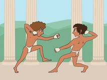 Cartoon ancient greek boys boxing. Ancient greek boys boxing, funny historical cartoon of education origins stock illustration