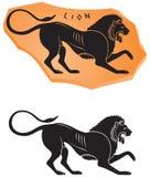 Ancient Greek ceramic style Lion icon. Black figure vase painting series  design element Royalty Free Stock Image