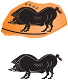 Ancient Greek ceramic style Wild Boar icon Stock Images
