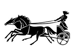 Ancient Greek or Roman chariot. Silhouette. An ancient Greek chariot. Stylized vector illustration. Silhouette. Two horses and a charioteer royalty free illustration