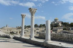 Ancient Greek Chersonesus Taurica near Sevastopol in Crimea. Royalty Free Stock Image