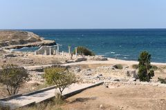 Ancient Greek Chersonesus Taurica near Sevastopol in Crimea. Royalty Free Stock Photos