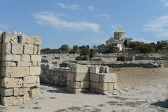 Ancient Greek Chersonesus Taurica near Sevastopol in Crimea. Royalty Free Stock Photography