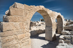 Ancient Greek city Kourion, southwestern coast of Cyprus. View from arch Royalty Free Stock Image