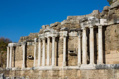 Ancient greek city ruins in Side, Turkey Stock Photo