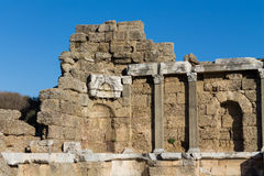 Ancient greek city ruins in Side, Turkey Royalty Free Stock Images